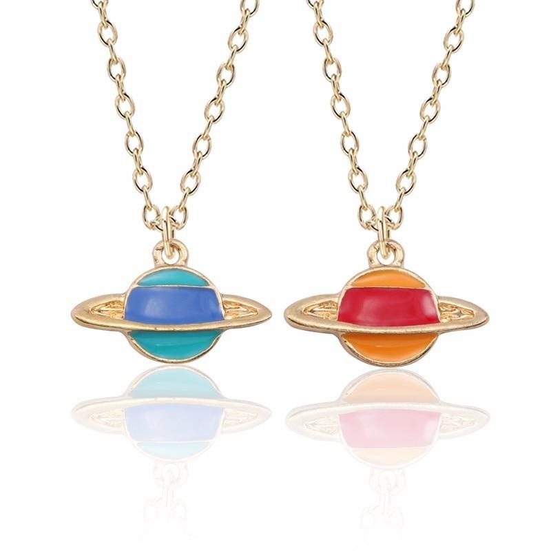 Cute Planet Necklace For Women Kawaii Comet Pendant Red Blue Stripe Celestial Body Necklaces&Pendants Christmas Children Jewelry