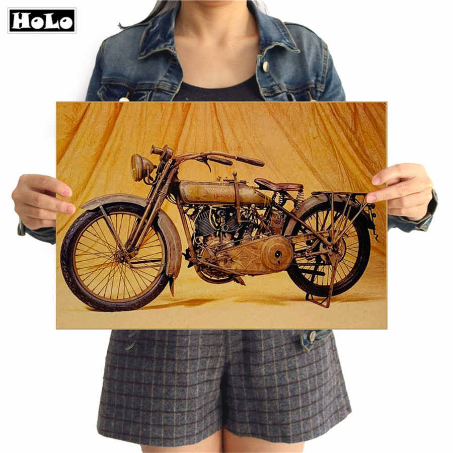 Vintage Motorcycle Poster Retro Wall Art Crafts Sticker Kraft Paper Painting Living Room Bar Cafe Design 42x30cm GGB075