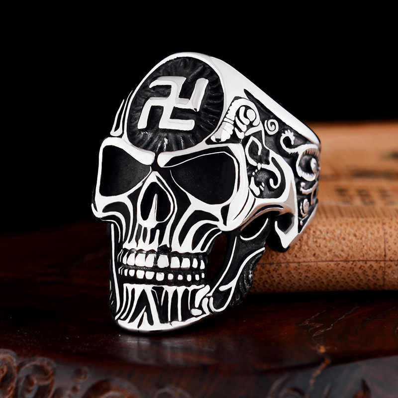 Homens de Cor de Ouro Budismo Suástica Anéis Do Crânio Do Punk Rock Hip Hop Liga de Prata Preto Do Vintage do Sexo Masculino Anel de Cabeça Fantasma Esqueleto anéis