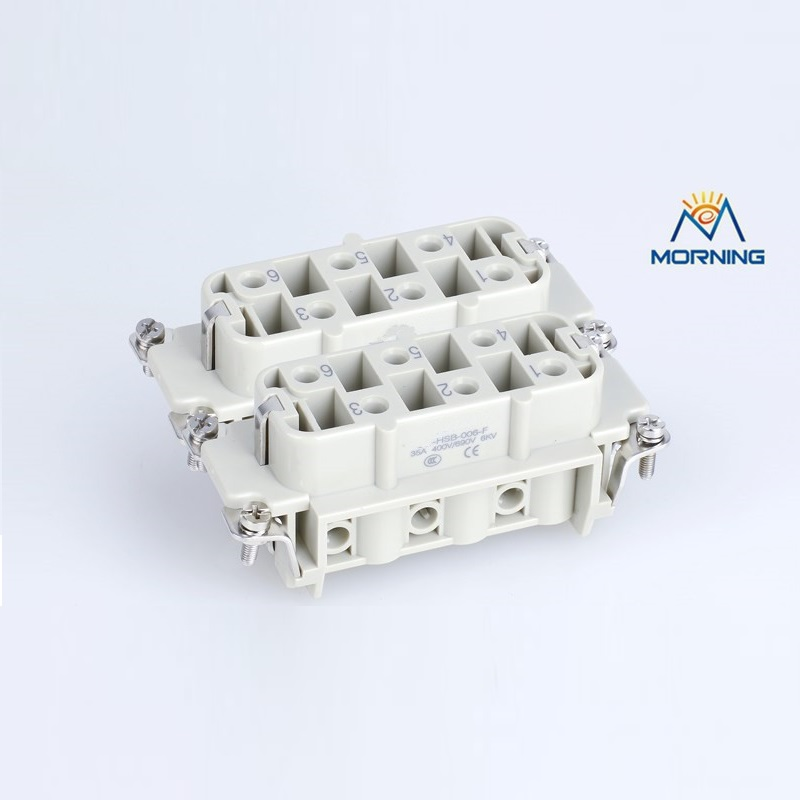 HSB-012 35A 400V Male Female heavy duty industrial connector 6 Pins heavy duty connectors hdc hee 018 1 f m 18pin 16a industrial rectangular aviation connector plug