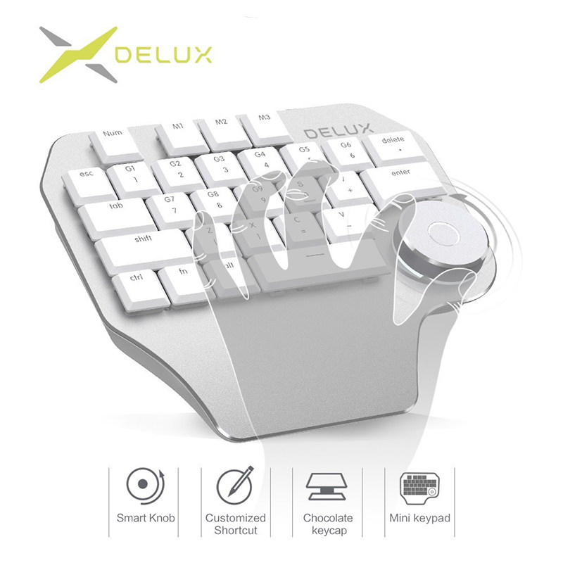 Delux New T11 Designer Gaming Keyboard Keypad Smart Dial 3 Group Customized Keys For Windows OS Design Mac For PC Computer Gamer