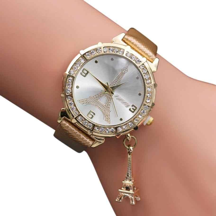 새로운 정통 시계 성명 2018 사랑스럽고 우아한 여성 석영 손목 에펠 탑 라인 석 펜던트 손목 시계