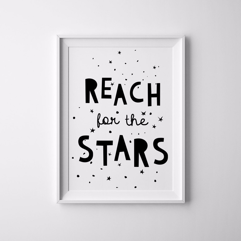 Reach for The Stars, Canvas Prints Wall Pictures Black and White, - Home Decor