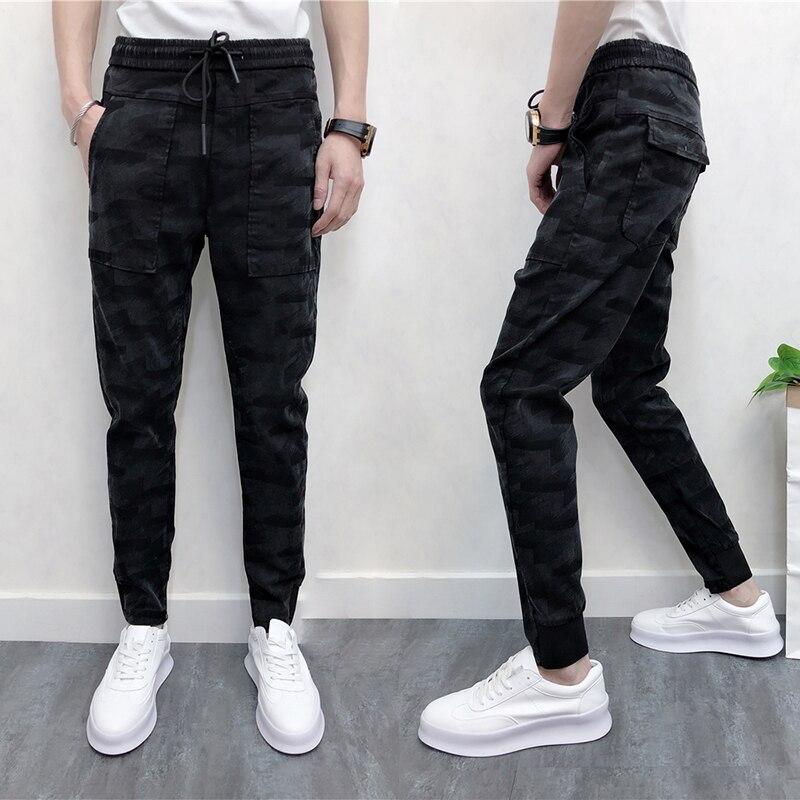 Delgada Pantalones 2019 Entrepierna Con Elástica Hombres Casual Black Negro De Lápiz Cintura Los Grande Tobillo Bolsillos longitud Verano Harén xgFxI