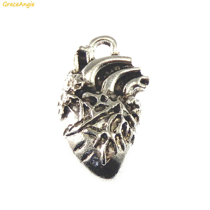 GraceAngie 10PCS Silver Tone Colored Human Heart Shape Organ One Side Alloy Pendant DIY Punk Jewelry Necklace Keychain Findings