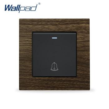 Doorbell Wall Switch Wallpad Aluminium Metal Frame Wood Design Push Button Switches Interrupteur Momentary Reset Switch 1
