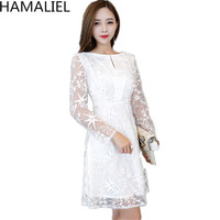 HAMALIEL Runway Spring Party Dress White Embroidery Mesh Lace Diamonds Pearl Stars Long Sleeve Casual Slim Women Luxury Dresses