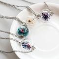 Sunshine Handmade Wish Glass Bottle Dried Flower Pendant Necklace Silver Plated Chain Time Choker Women Summer Fashion jewelry