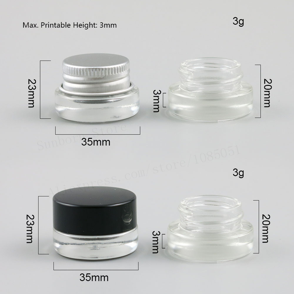 Купить с кэшбэком 3g 3ml empty travel mini Clear glass cream jar pot can with black silver cap inner white seal make up cosmetic container 20pcs