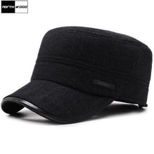 [NORTHWOOD] Классическая утолщенная Мужская зимняя шапка, теплые военные шапки для мужчин, регулируемые шапки с плоским верхом