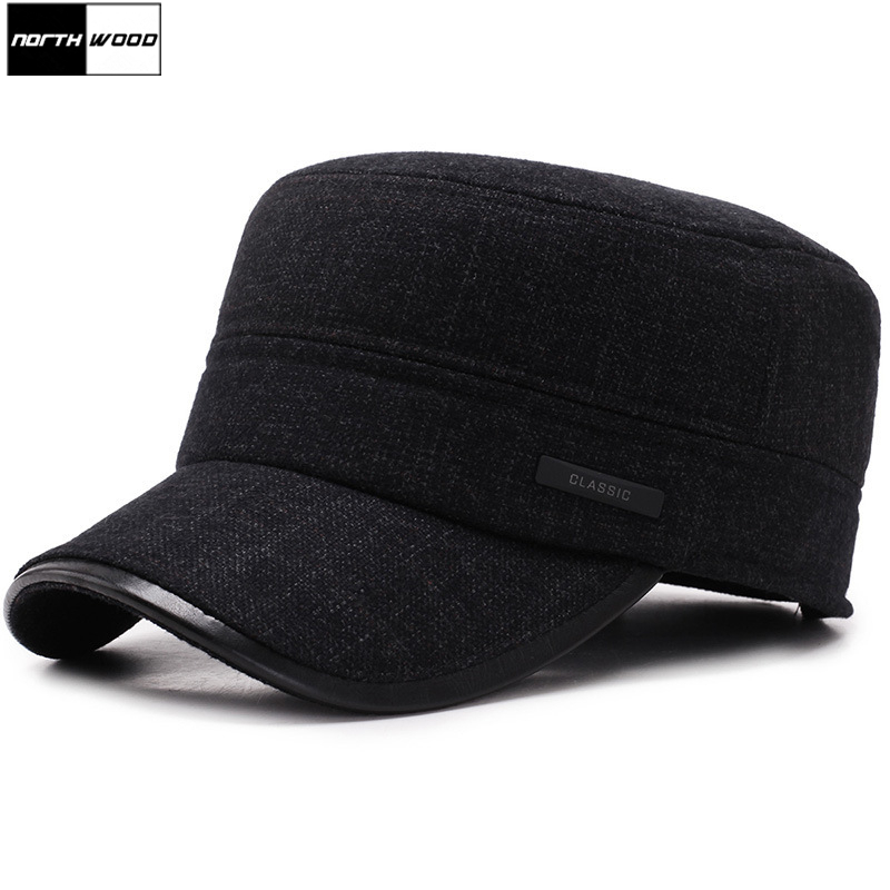 [NORTHWOOD] Classic Thicker Mens Winter Hat Warm Military Hats For Men Adjustable Flat Top Caps