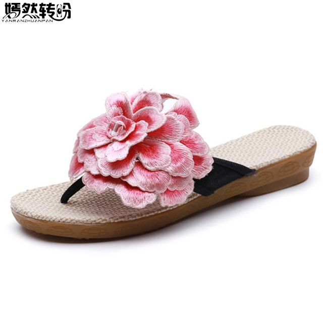7fd1ef75e82c5 New Summer Women Slipper 3D Big Flower Embroidery Boho Beach Shoes Cotton  Cloth Soft Sole Casual