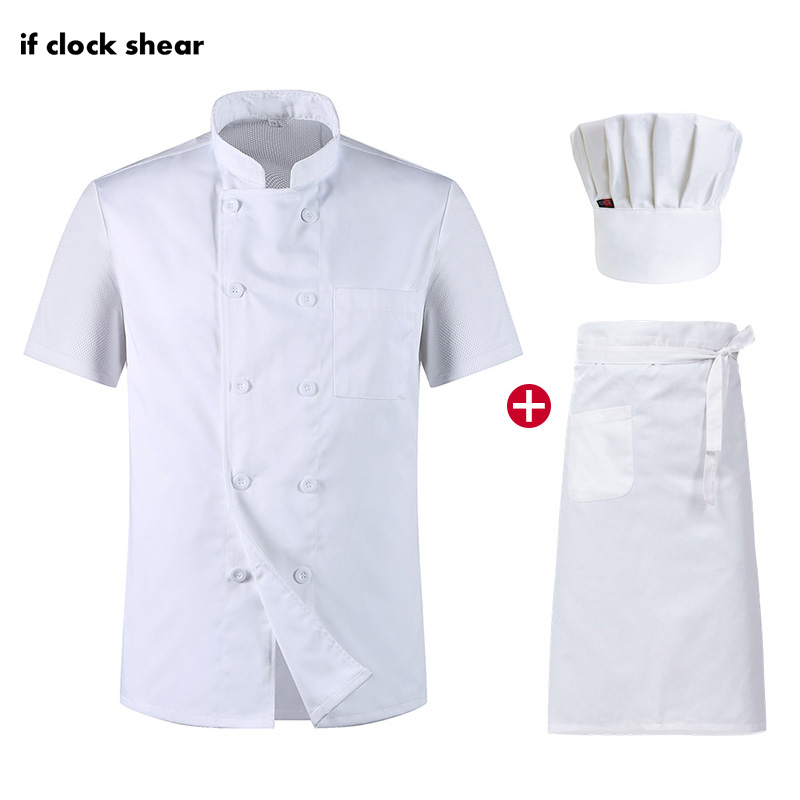 Unisex Short Sleeved Restaurant Chef Uniforms Food Service Hotel Kitchen Work Clothes Breathable Catering Jacket+Hat+Apron M-3XL