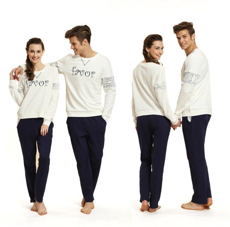 Spring XL Pyjamas Couples Casual Pajama Sets Women Cotton Sleepwear Suit Ladies Long Sleeve O-Neck Collar T Shirt +Pants
