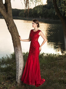 Party-Gown Beaded Embroidery Evening-Party-Dress Mermaid Formal Long-Close Ceremony Sleeveless