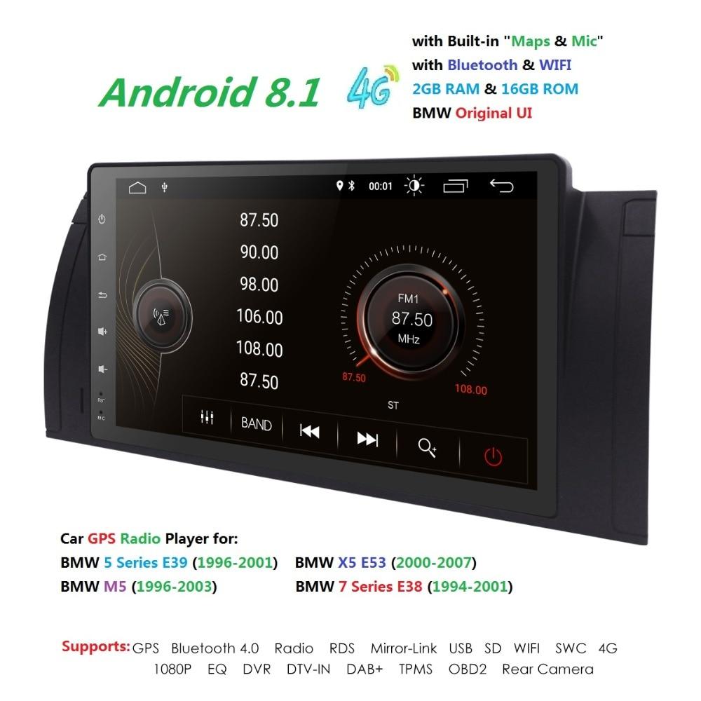 Voiture 2 din radio 4G android 8.1 GPS Navi pour BMW E39 M5 E38 E53 X5 autoaudio navigation tête unité vidéo multimédia stéréo 2 Gb Ram