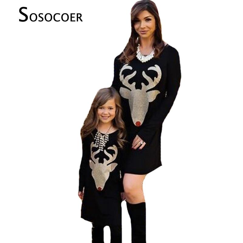 SOSOCOER 어머니 딸 드레스 가을 크리스마스 사슴 가족 일치 의류 복장 Antlers 긴 소매 엄마 딸 드레스