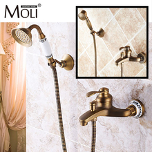Wall mounted antique brass bronze brushed bathtub faucet with hand shower bathroom shower faucets torneiras golden rainfall shower faucets set brass wall mounted shower with hand shower mixer for bathroom