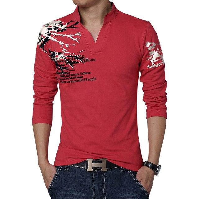 2017 Новый Модный Бренд Тенденция Печати Slim Fit С Длинным Рукавом Polo мужчины V-образным Вырезом Случайные Люди Поло Хлопок Polo Рубашки Плюс Размер 5XL