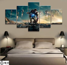 Hot Sales Without Frame 5 Panels Picture Super Marvel Iron Man Film Poster Artwork Wall Art Canvas Painting Wholesale