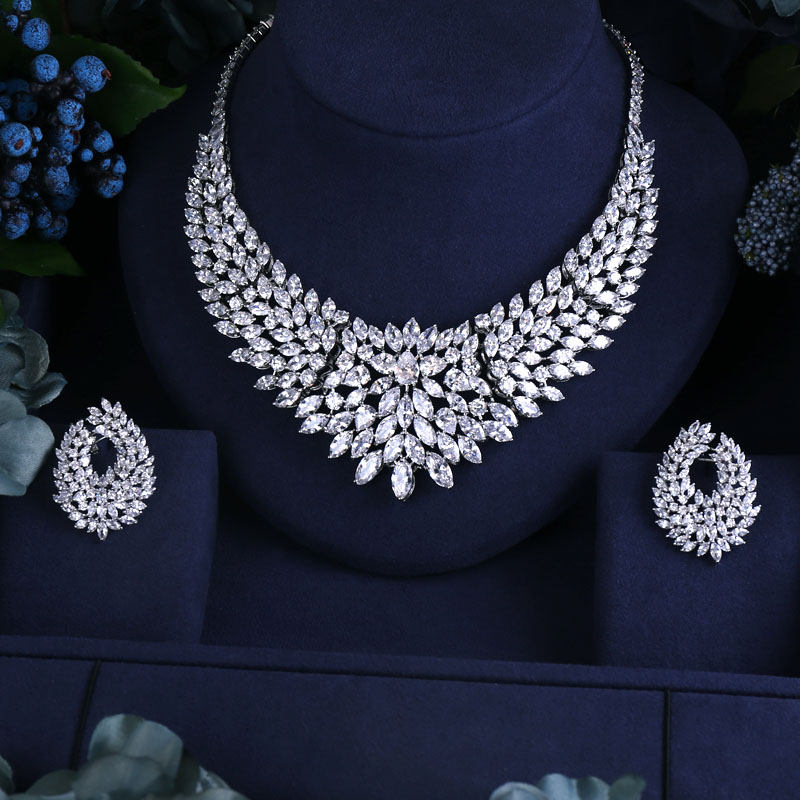 Us 55 44 16 Off Newest Design Wedding Necklace Set Aaa Cubic Zircon Bridal Jewelry Sets Earrings Promotion Nickel Free Factory Price In