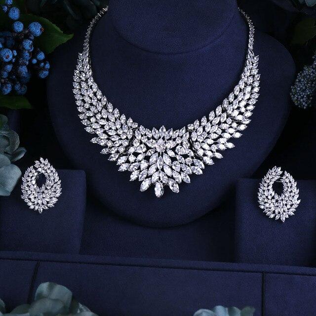 b91e73fd0 Newest Design wedding Necklace set AAA Cubic Zircon Bridal Jewelry Sets