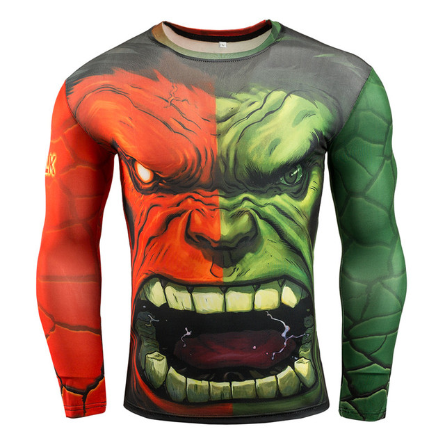 ec2bab5a704 Hulk Muscle Compression Shirt Base Layer Tights Men Long Sleeve Fitness  Tees Plus Size T Shirt Moisture Wicking Quick-drying