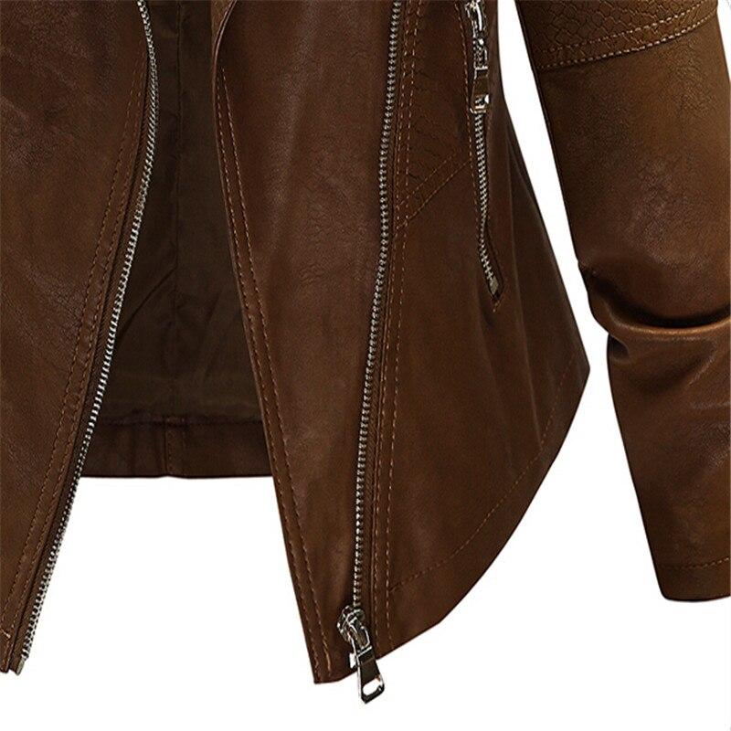 Base Plus Couleur Veste Automne En Taille 5xl Tops Cuir De La Outwear Brun Court Coffee Mode L Hiver 2018 Café BP6qX