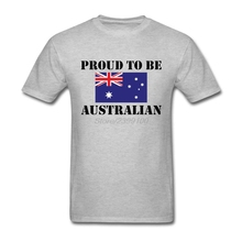 Geek O Neck Organic Cotton Proud to be Australian Flag Men tshirt Teenage T Shirts Cheap Sale