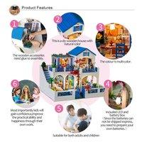 Большая вилла кукольный домик DIY 3D Миниатюрный Кукольный дом модель строительные наборы деревянная мебель игрушки подарки на день рождения