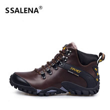 Men Comfort Lace Up Short Boots Male Leather Anti-skid High Top Ankle Boots Men Casual Fashion Warm Fur Boots Shoes AA60533