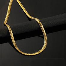 Hip Hop Mens Lace embossing Herringbone Chain Necklace Jewelry Long For Men Gold Color Chunky Hippie Rock