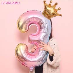 STARLZMU 2 шт. 32 дюймов Радуга номер воздушные шары с золотой короной Единорог воздушный шар из фольги для вечеринок день рождения аксессуары