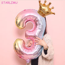 STARLZMU 2PCS 32inch rainbow number balloons with gold crown unicorn party foil balloon birthday party decorations kids globos(China)