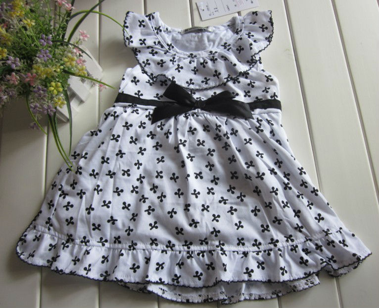 summer style dress cotton baby girls dress print dresses bow belt