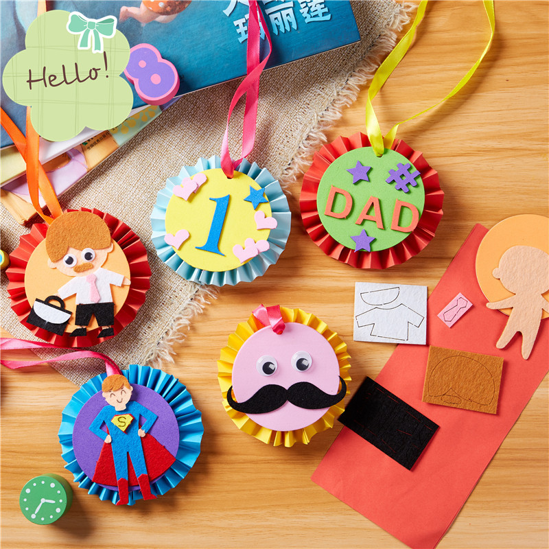 Children DIY Dad's Medal Handmade Toys Kindergarten Art Toys Materials Package Kids Homemade Father's Day Gifts For Daddy