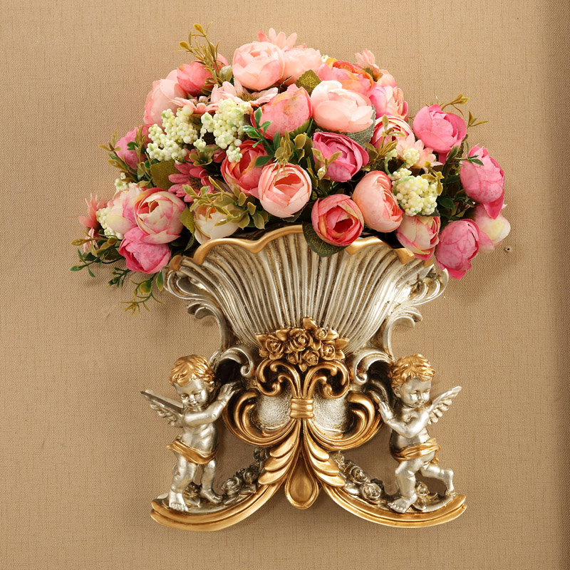 Europeu Resina Vaso Antigo Vaso de Flores de Parede Falsa Mural Da Parede do Anjo Ornamento Cesta De Artesanato Decoração Da Casa Sala Adesivo de Parede