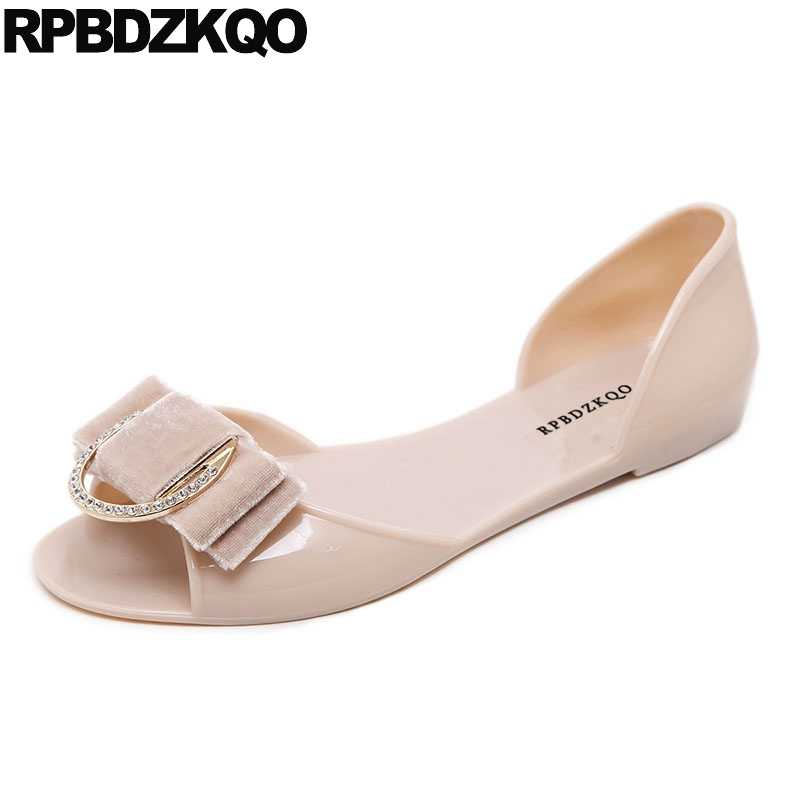 78a154eecf4289 Transparent Nude Bow Ladies Korean Slip On Plastic Bowtie Pvc Female Shoes  Jelly Women Sandals Flat