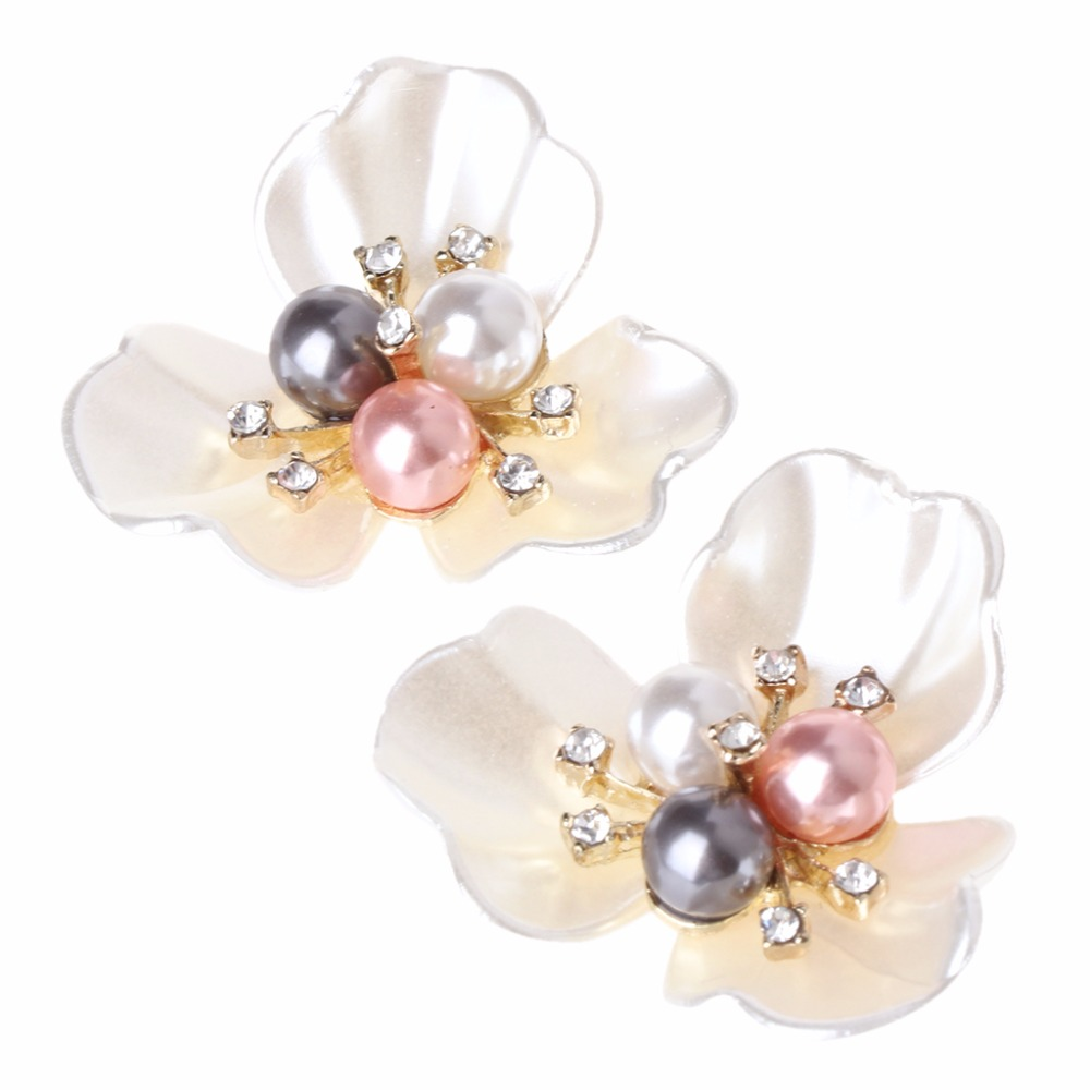 2Pcs DIY Embroidered Sequins Beads Decorative Accessory Cloth Patch Clover Shoe Clips Shoe Decorations