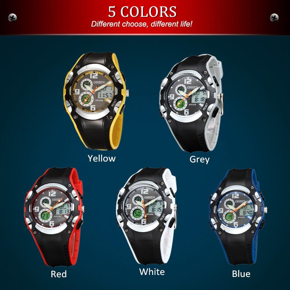 OHSEN Digital Quartz Lady Women Fashion Wristwatch 30M Dive Rubber Band Yellow LCD Outdoor Sport Gift Watches Relogio Feminino
