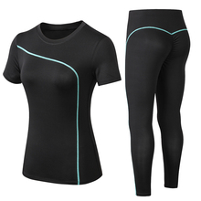 New Women Gym Sets 2 piece Yoga Set Gym Clothes Tennis Yoga Shirt + Seamless Leggings Workout Sports Suit Active Wear active ladder ripped gym leggings