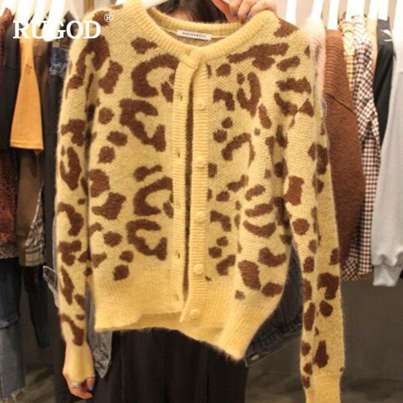 Cuello Brown cream Casual Leopardo Mujeres Chaquetas Color De Ropa Light Punto Vintage Suéter Otoño 2018 Invierno Las Rugod Mujer x81SwRqfH