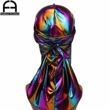 Mens Colorful Sparkly Durags Turban Bandanas Men Shiny Silky Durag Headwear Headband Hair Cover Accessories Wave Caps Rags Hat