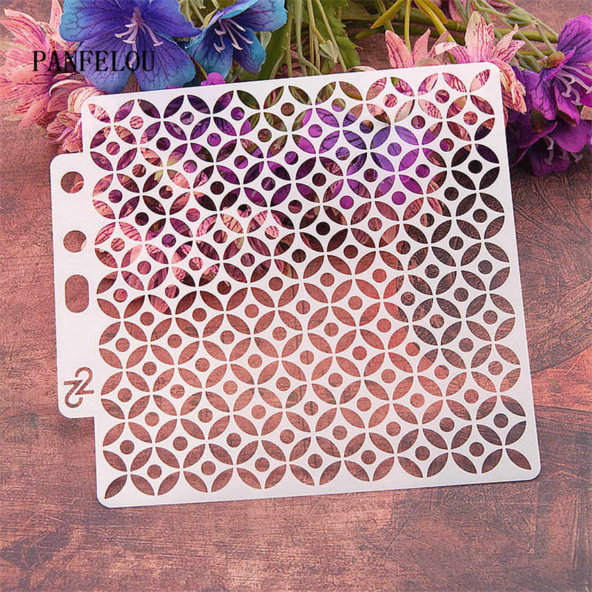 Circular grid scrapbook stencils spray plastic mold shield DIY cake hollow Embellishment printing lace ruler valentine