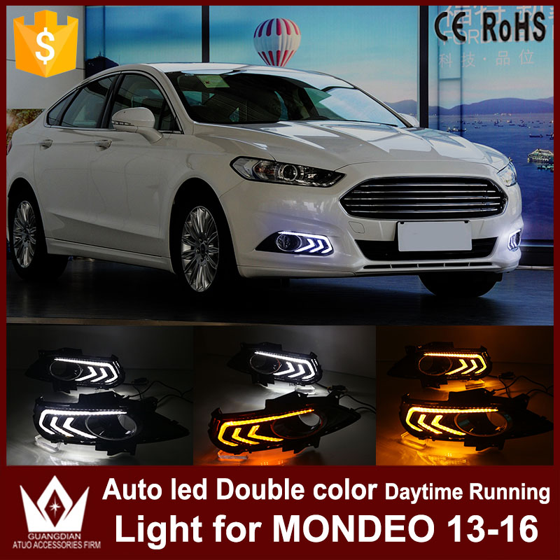 Tcart DRL Headlights with turn signal lights for Ford Mondeo 2013-2016 daytime running light Auto LED Day Driving fog Lamp tcart for toyota rav4 2016 2017 drl daytime running light with turn signal light function headlight fog lights led car day light