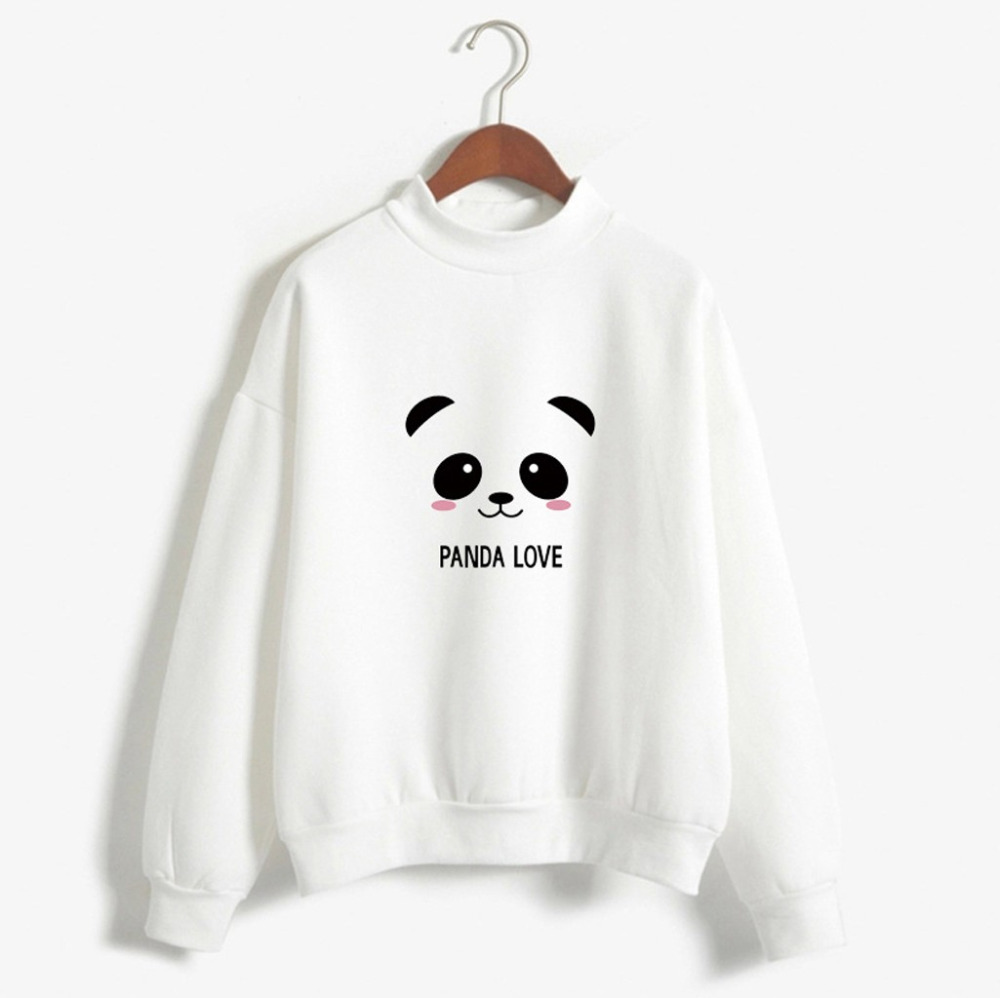 2018 Winter New Women's Fashion Warm Pure Color Long Sleeve Loose Panda Print Shirt Casual Bottom Shirt Top High Quality Easy To Lubricate