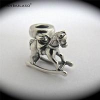 Pandulaso Wood shaking horse Charms Fit 925 Silver Original Bracelets & Choker Beads woman DIY Silver Jewelry Making