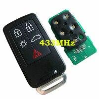 Neue Ersatz 5 Taste Auto Fernbedienung Schlüssel Karte 433Mhz Mit ID46 Chip Für Volvo XC60 XC70 S60 S80 V60 smart Auto Schlüssel HU101 Schlüssel Klinge