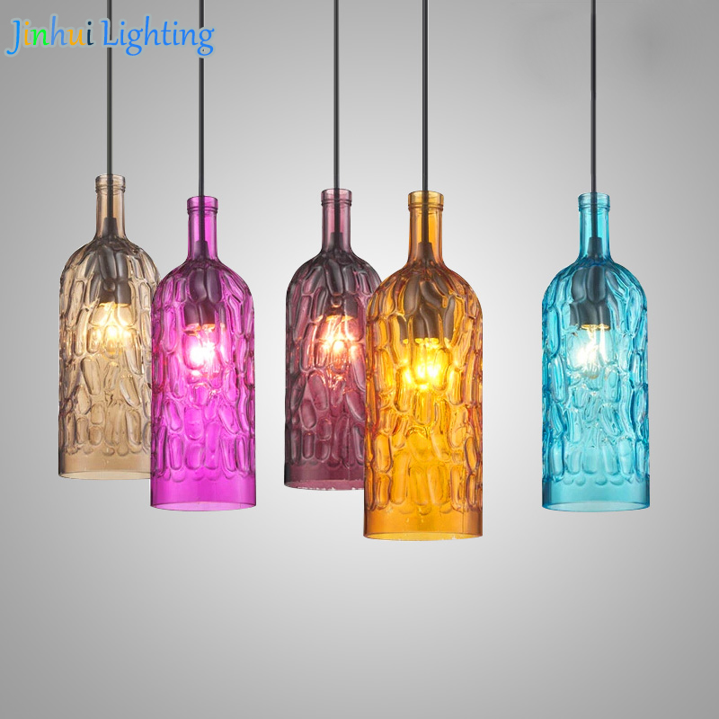 Brief Modern simple pendant light colorful Glass wine bottle indoor lighting bar shop restaurant reception hanging light fixture european style wicker pendant lighting simple lampara mimbre restaurant bar bottle pendant lamp cutting glass wine bottles lamp