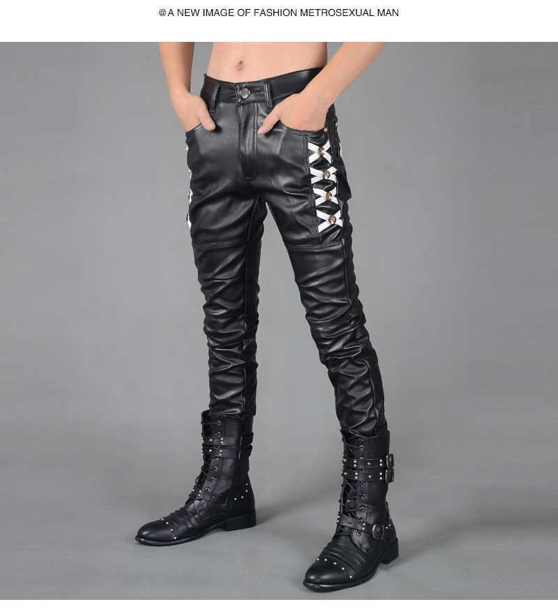 Pantalones ajustados De cuero para hombre nuevos De otoño invierno De cuero para hombre De cuero negro De locomotora hombre 2019